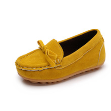 New Girls Shoes Children's Bowknot Suede Loafers Flat Shoes Kids Fashion Sneakers Baby Peas Casual For Toddler/Little Kid Shoes(China)