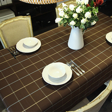 Korean style tablecloth classic plaid red and coffee color rectangle round table cloth home line table covers for wedding party