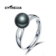New Fashion Simple natural freshwater black pearl wedding cross ring, adjustable pearl star ring for women girl gift
