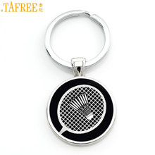 TAFREE novelty fashion photo jewelry vintage badminton keychain men women casual sports key chain ring holder for car bag SP904(China)