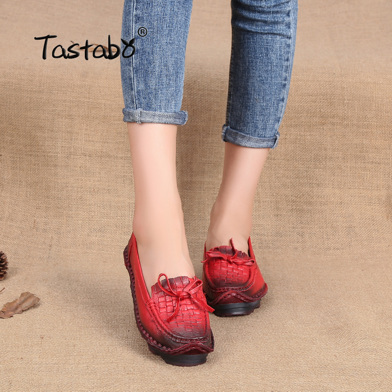 Tastabo Leather Soft Bottom Women Shoes Pregnant Women Flats Mother Driving Shoe Female Plus Size Loafers Casual Shoes Flats<br>