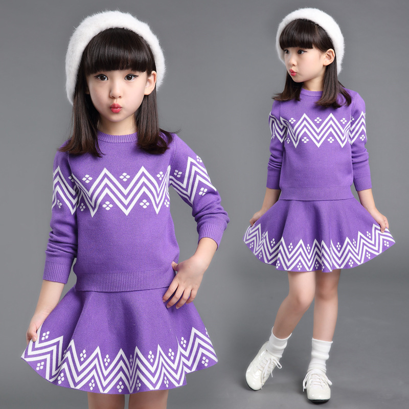 2017 Fashion Bohemia Baby Girls Dress Clothes Sets Cotton Knit Warm Teens Girls Sweaters+Skirts Children Princess Dress Coats<br>