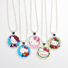 5pcs Hello Kitty Pendant Stainless Steel Chain Necklace, Cute Animal Photo Cartoon Necklace for Children/Baby/Kids