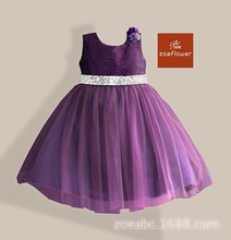 Wholesale Baby Girls Beading Belt Clothes Kids Solid clothing Childrens Flower Tutu Dresses 3-8T 2 colors 1113-2