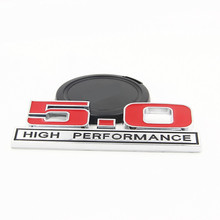 500 Pieces DHL Chrome Metal 5.0 HIGH PERFORMANCE Car Emblems Car Trunk Sticker for Exploror Escort Kuga Mustang Fiesta eco sport
