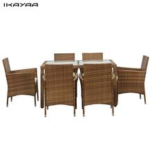 iKayaa FR Stock 7PCS Patio Furniture Rattan Patio Dinning Table Set Cushioned Garden Furniture Set Light Brown + Coffee Cushion