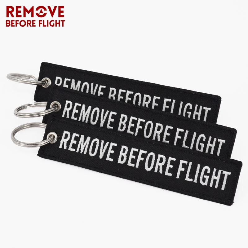 REMOVE BEFORE FLIGHT Keyings Special Luggage Tag Label Black Embroidery Key Ring Chain Aviation Gifts OEM Keychain Key Fobs Easy Reach key tag