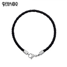 Buy REAMOR 12 Colors Braided Leather Rope Chains Bracelet Lobster Clasp Fit Women Men European Beads Charm Bracelets DIY Jewelry for $5.62 in AliExpress store