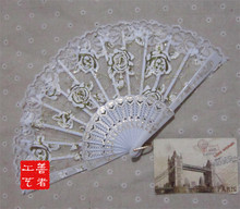 DHL 100pcs/lot Spanish style rose flower design plastic frame lace silk hand fan, Chinese craft folding fan(China)