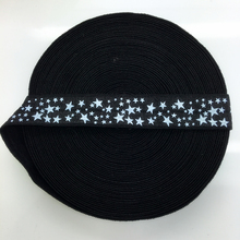 "5yards/lot 5/8"" 15mm Black STARS Multirole Fold Over Elastic Spandex Satin Band Ties Hair Accessories"