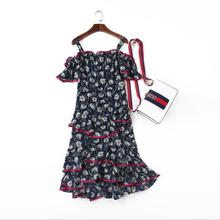 Europe and the United States women's clothing The new in the summer of 2017 Open shoulder print flounce Condole belt dress