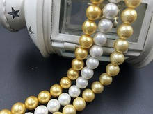 (Mini order $10) 10MM 76Pcs=2srtands/pack Cockles Shell Powder & Dyeing Pearl Loose Strands Diy Jewelry Beads