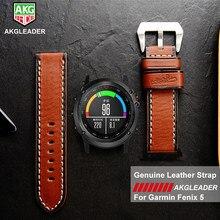 7041ce810a7 Mais novo Luxo Genuine Pulseira de Couro Handmade Watch Band Com  Ferramentas Para Garmin Fenix 5 GPS Relógio de Alto Grau de Cor.