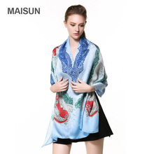 [MAISUN] 100% Silk Scarves For Women Ethnic Style Printing Shawl High Quality Georgette Satin Scarf(China)