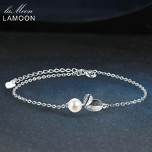 LAMOON 2017 New Vivid Leaves with Texture 100% 925 Sterling Silver & Pearl Bracelet Fine Jewerly/Jewellery For Women LMHY017(China)