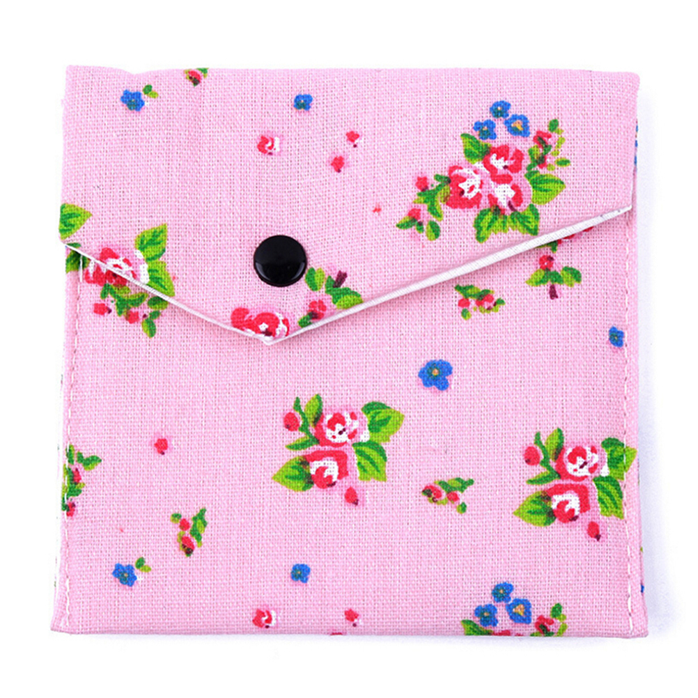 1PC Flower Print Sanitary Towel Bag Storage Female Hygiene Sanitary Napkins Package Small Cotton Storage Bag Purse Case  3Colors