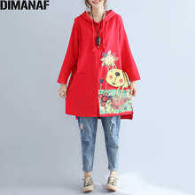 DIMANAF Autumn Woman Hoodies Plus Size Kawaii Cartoon Print Cotton Open Stitch Long Sleeve Hat Coats Preppy Style Female Coats(China)