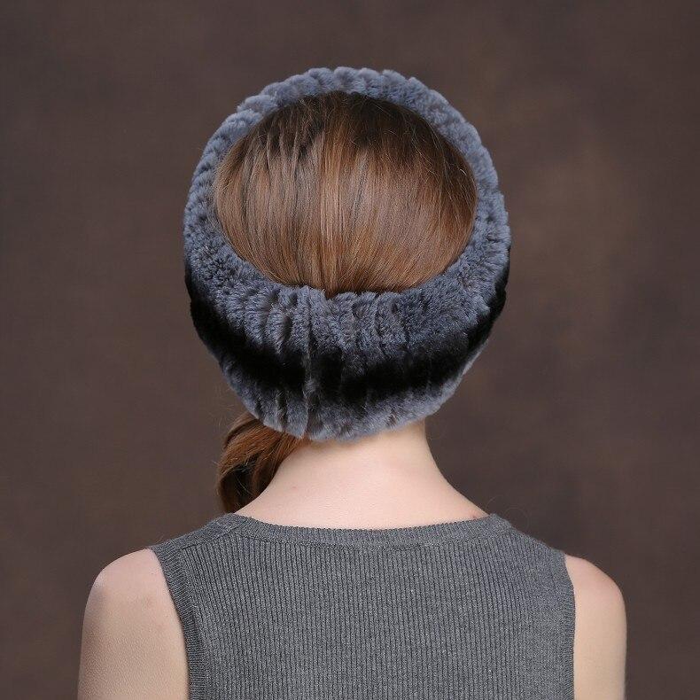 Winter Fur Headbands For Women Knitted Rex Rabbit Fur Scarf Hats Natural Fur Ring hairband Neckwarmer female (25)