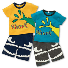 2015 New Brand Shark Boys T-shirts Sets Animals boy Suits Kids Trousers Shorts Children's Outfits Kids' Clothing