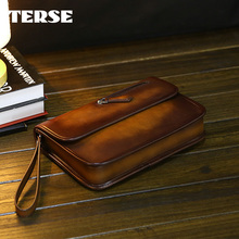 TERSE_Factory price clutch bag handmade Italian calfskin genuine leather document clutch bag tobacco for man wrist bag OEM ODM