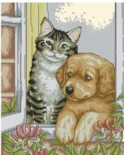 Free delivery Top Quality lovely counted cross stitch kit cat and dog look at the window, kitty and dog animal