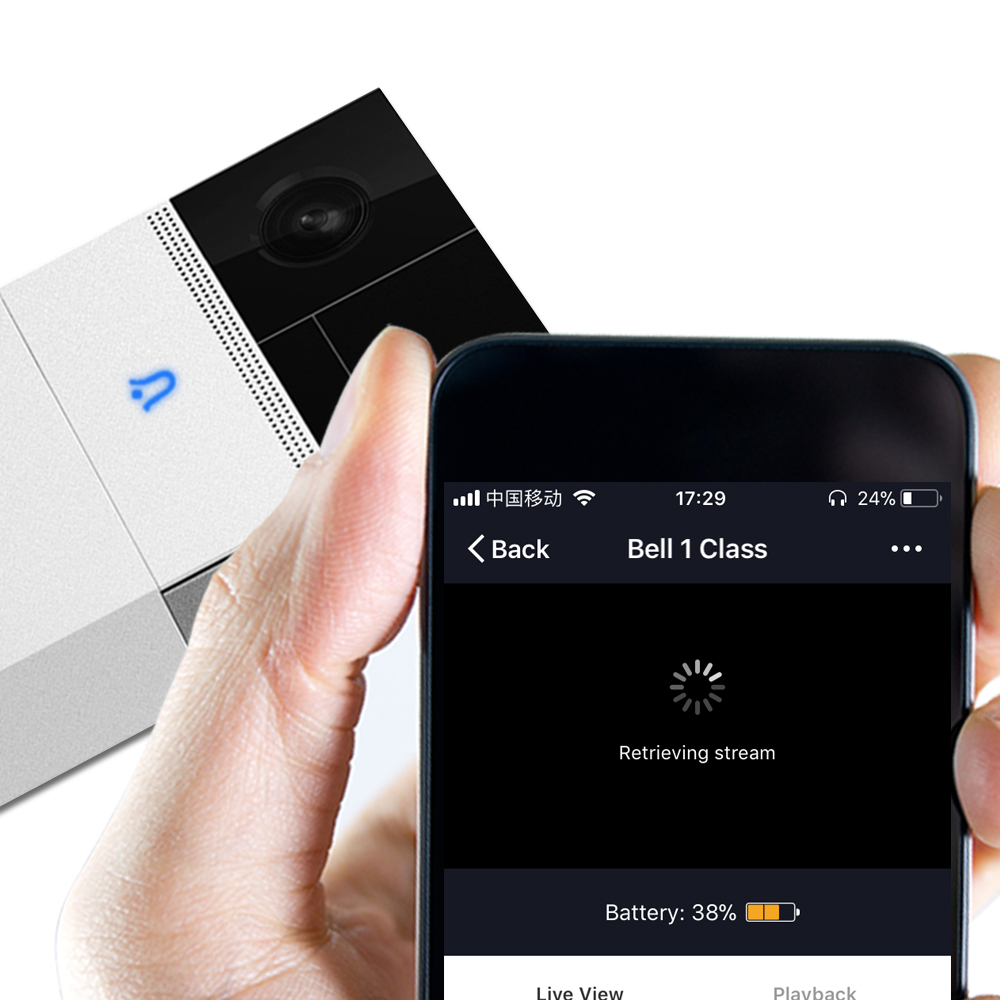 HD WiFi Doorbell Build in Battery Home Security APP Control 1080P Visual Intercom Recording Video Door Phone Remote Home Monitoring Night Vision(9)