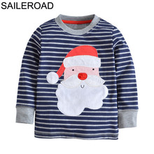SAILEROAD Cotton Children Kids Boys Girl's Shirts Autumn Santa Claus Baby Boys Long Sleeve T Shirt Toddler Christmas Costume(China)