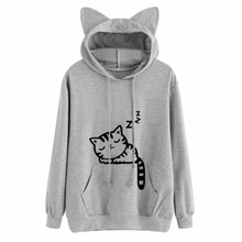 New Design Cat Ear Hooded Coat Women Sweatershirt Sleep Cat Printed Autumn Long Sleeve Pullovers Female Fashion Outwear Womens 3(China)