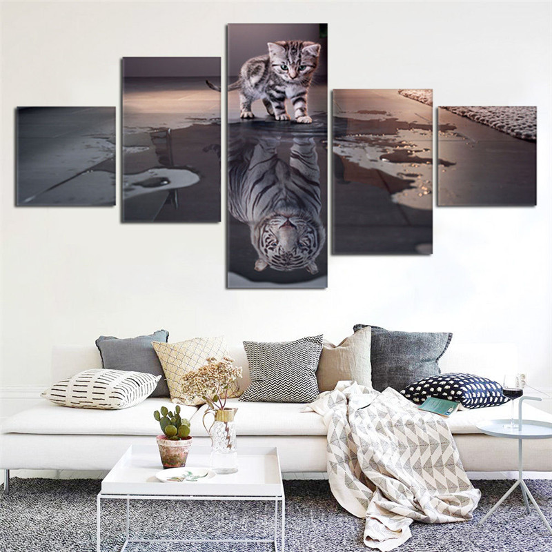 Artryst Island 5 Panels Decorations Modern Canvas Prints Artwork Cat and Tiger Pictures Paintings Canvas Wall Art Painting Decor(China (Mainland))