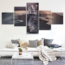 Canvas Wall Art Painting Decor for living room 5 Panels Decoration Modern Canvas Prints Artwork Cat and Tiger Pictures Painting(China)