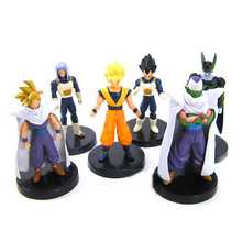 6pcs Dragon Ball Z Action Figures Piccolo Goku Gohan Cell Trunks Vegeta Figure Set Loose