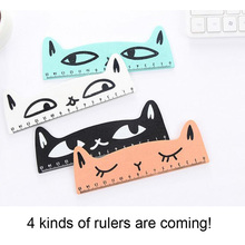 4 pcs/lot 15cm Fresh Candy Color Cute Cat Wooden Ruler book mark penstand used student kid Ruler Sewing Office School Accessorie