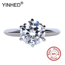 YINHED Fashion 925 Sterling Silver Women Ring Luxury Engagement Wedding Jewelry High Quality CZ Zircon Ring Jewelry ZR121(China)