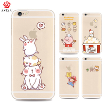 ASINA Ultra Thin Cartoon Case For iPhone 6 6S Transparent Case With Lovely Cartoon For iPhone 6 6S Plus Silicone Case Cover(China)
