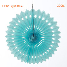 8inch=20cm 3pcs/lot Light Blue Foldable Honeycomb Tissue Paper Fans Hanging Birthday Baby Shower Wedding Backdrop Decorations