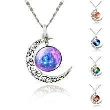 Moon Statement Necklace Glass Galaxy Collares Necklace&Pendants Maxi Necklace for Women Silver Plated Chain Colar Collier Femme