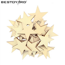 50mm Hot Selling 25Pcs DIY Wooden Star Shapes Laser Cut MDF Embellishments Small Mini Shape For Wood Craft(China)