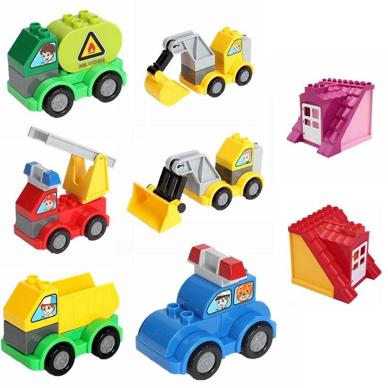 Mailackers duplo series blocks fire truck bulldozer excavator model duplo Mailackers children