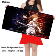Mairuige 900*400*2MM Art online animation Mouse Pad pad Overlock Edge Big Gaming mouse Pad Send BoyFriend the Best Gift(China)
