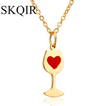 SKQIR Red Heart Necklace Fashion Gold/Silver Stainless Steel Necklaces & Pendants For Women News Chain Wine Jewelry(China)