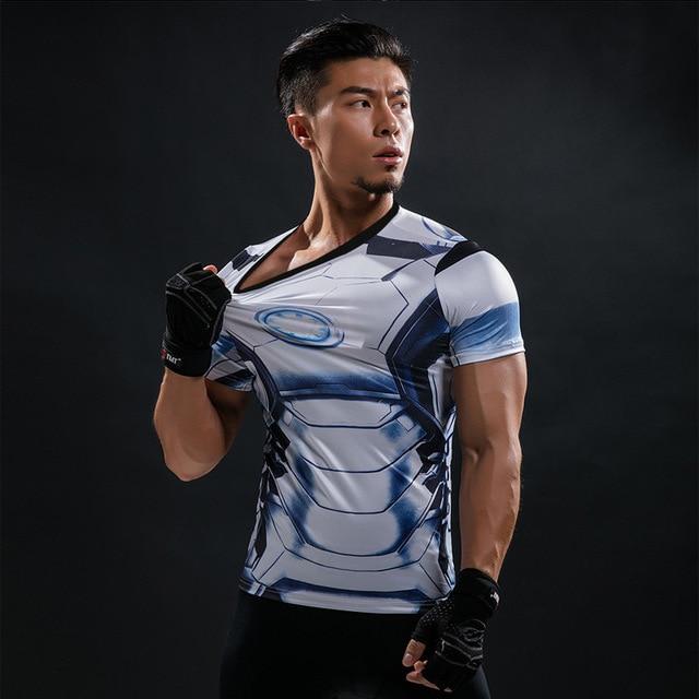 Short Sleeve 3D T Shirt Men T-Shirt Male Crossfit Tee Captain America Superman tshirt Men Fitness Compression Shirt Punisher MMA 51