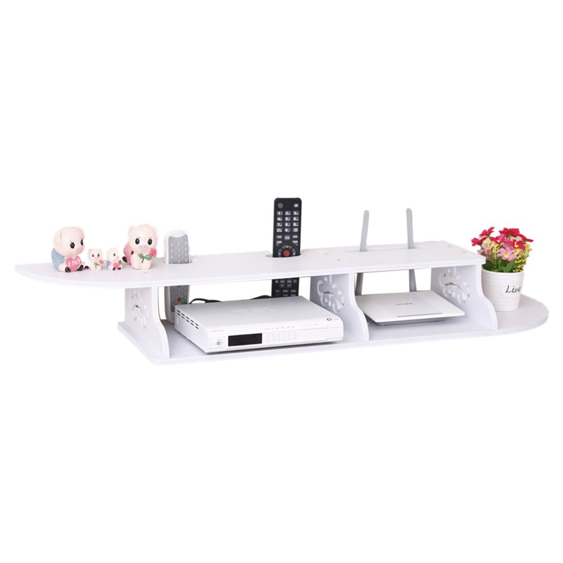 Hollow Carved 2 Tier Floating Wall Shelves Skybox CD DVD Bookcase Storage Unit- white<br>