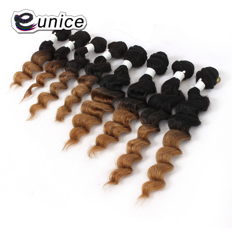 Deep Wave Brazilian Hair Ombre Human Hair Weave Bundles Extensions blond burgundy colors   (58)