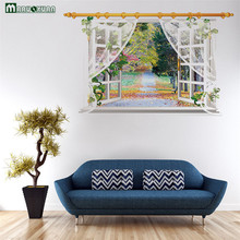 3D Window View Wall Sticker Decal Sticker Home Decor Living Room Nature Landscape Decal Mural Wallpaper Wall Art