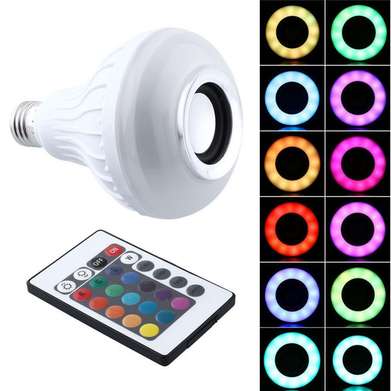 Intelligent E27 LED White + RGB Light Ball Bulb Colorful Lamp Smart Music Audio Bluetooth Speaker with Remote Control for Home<br><br>Aliexpress
