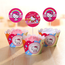 12 sets/lot Hello Kitty cupcake wrappers & toppers picks kids birthday party supplies Event & Party Supplies Cake Decorating(China)