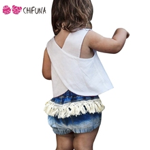 chifuna Hot Sale 2017 Children's Shorts with Tassel Children's Clothing Outerwear Summer Fashion Girls Denim Shorts