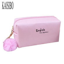 KAISIBO Cute Hair Ball Pendant Cosmetic Bag Pure Color Waterproof Portable Letter Women Makeup Necessaries Travel Cosmetics(China)