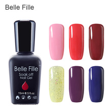 Belle Fille 15ml Gel Nail Polish UV Gel Deep Blue Red Wine Color Nail Gel Coat Bling Shining UV LED Soak Off Manicure Varnish