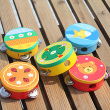 Educational Cartoon Wooden Baby Hand Drum Toys Musical Tambourine Beat Instrument Handbell Good Gift(China)